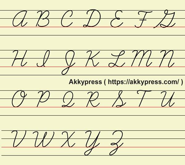 筆記体(大文字)アルファベット